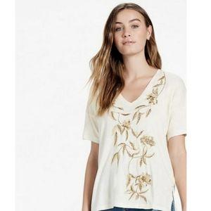 Lucky Brand gold embroirdered tee shirt